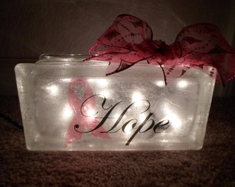 Breast Cancer Awareness Hope Lighted Glass Block Lamp October Show Your Support