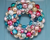 Vintage Ornament Wreath, Aqua and Pink, Christmas ball wreath
