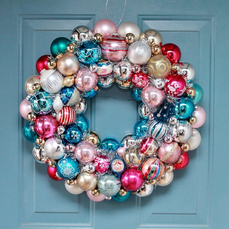 Vintage Ornament Wreath Aqua and Pink Christmas ball wreath