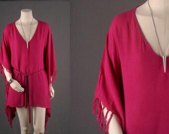 Caftan Poncho Pink Majenta dress blouse top boho bohemian hippie gypsy Size S small