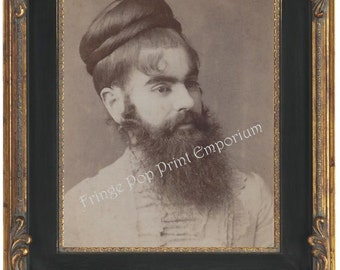 Victorian Sideshow Circus Freak Art Print 8 x 10 - Bearded Lady - Annie Jones - Portrait Shot