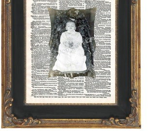 Victorian Post-mortem Art Print 8 x 10 - Dictionary Page -Oddity - Altered Art Collage - Goth - Memento Mori
