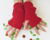 Red Fingerless Gloves With Buttons,Crochet Pattern, Hand Arm Warmers,Winter Accessories, Fall Fashion,Mittens