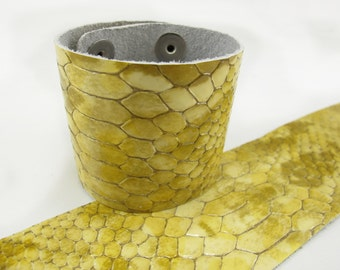 "Patent Snake Beige Leather Cuff Bracelet 2"" Wide, #57-85251648"