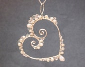 Hammered heart with pearls, aquamarine, and crystal quartz Necklace 335