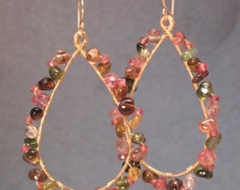 Hammered drop hoops with mix tourmaline Luxe Bijoux 201
