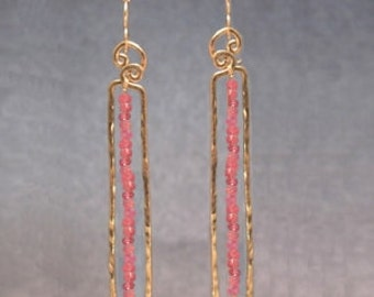 Hammered rectangles with pink ruby Bohemian 98