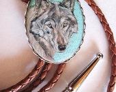 Classic western grey wolf bolo tie