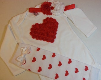 VALENTINES DAY OUTFIT, Valentines Red Heart Onesie Outfit, Leg Warmers and Headband, Sizes 0 to 24 month
