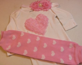VALENTINES DAY OUTFIT Pink Chiffon Heart Onesie with Matching Leg Warmers and Headband, Sizes 0 to 5/6