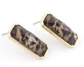 Elegant Gold-tone Rectangular Stud EARRINGS with Leopard Pattern Decorative,D2+