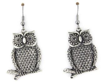 Vintage Cute Silver-tone Owl Dangle Drop Earrings A2