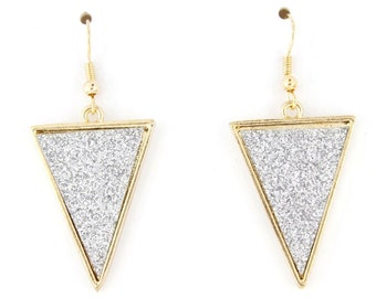 Simple Gorgeous Gold-tone White Triangle Dangle Drop Earrings
