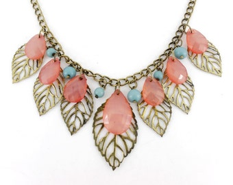 Vintage Gold tone Multiple Leaf and Pink Beads Drop Pendant Necklace D7