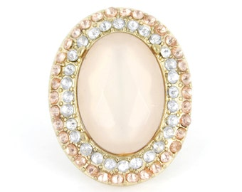 Gold-tone Pink BIG Oval Stone RING,Size 7 or 8 or 8.5  <K7>