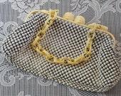 Metal Bead Purse ALUMESH Vintage Davis and Whiting Vanity Items Cigarette Case Rouge Compact Bangle Bracelets Hair Barrette Purse Mirror