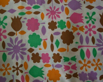Brightly colored cotton fabric remnant, 2.5m, Japanese fabric