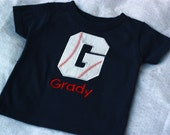 Infant, Toddler and Boys Baseball initial or number T-Shirt