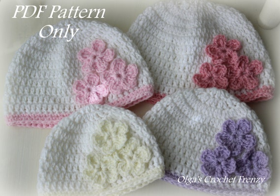 Crochet Baby Hat Pattern Beginner : Beginner Level Crochet Baby Hat with Three Flowers Pattern