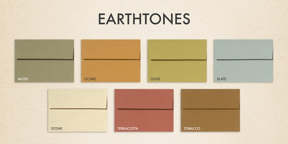 A7 Invitation Envelopes w/Peel & Press (5 1/4 x 7 1/4) - 100% Recycled Earthtones Collection (50 Qty.)