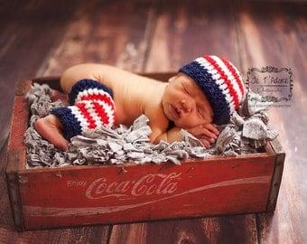 Crochet Patriotic Hat and Striped Leg Warmer Set