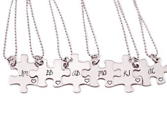 Bridesmaid Gift Puzzle Piece Necklaces - Engrave Puzzle Piece Necklace - Wedding - Bridal Party - Wedding Puzzles - Puzzle Necklaces - 1257
