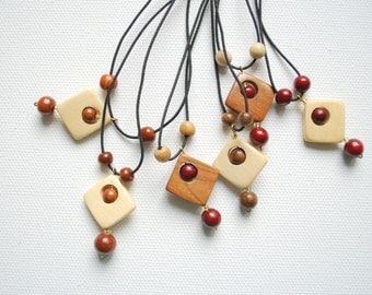 Wooden Squares Pendants, Elastic Cord, Juniper Oak Birch Cherry Pendants, Mothers Day Gift, For Her Him, Girls Pendant, Friends Pendant