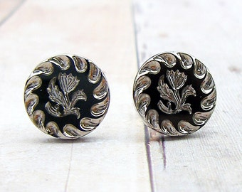 Silver Cornflower - vintage Czech glass button post earrings