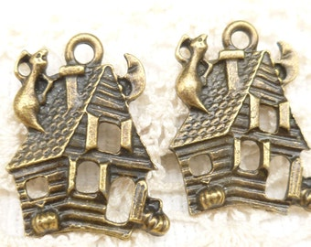 Halloween Haunted House Charms Pendants, Antique Bronze (6)