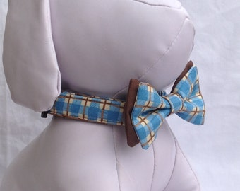 Dog Collar Bow Tie Set - Blue And Brown Plaid -Size XS, S, M, L, XL