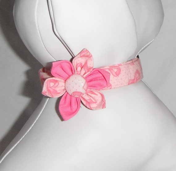 Dog Collar Flower Set Breast Cancer Awareness - size xs, s, m