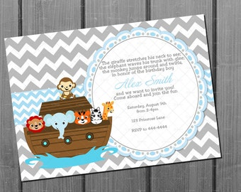 Boy Noah's Ark Birthday Invitation and FREE Thank You Card Printable DIY