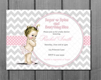 Girl Baby Shower Invitation and FREE Thank You Card Printable - Pink Baby Girl Baby Shower Invite - Vintage Baby Shower