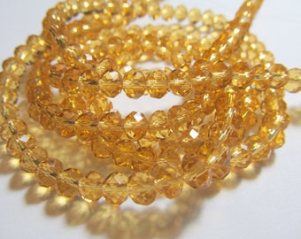 """8"""" Golden Honey Faceted Rondelle Crystals, Beads, 6x4mm"""