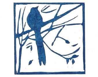 Bird lino print 'Bird in the trees'. Hand pulled lino print