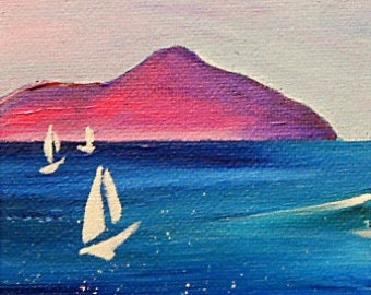 Sailboats at Lamlash Bay. Fine Art Gift Card 4x4 inches