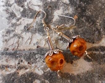 The Real Dia de Los Muertos Skull Bonehead earrings dangle Goth Pirate Deadhead