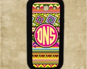 Aztec tribal pattern with monogram cover - Samsung Galaxy S3, S4, Samsung Galaxy Note 1, 2, HTC One X, Blackberry 9900 case (9887)