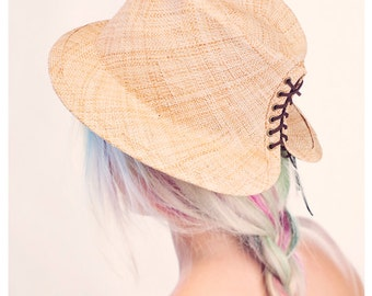 Straw Fedora Hat with lacing at the back, Demian hat