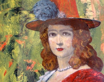 Original painting, mixed media, figurative art,on sale, sale priced, vintage look, acrylic painting, lady in hat, textured art