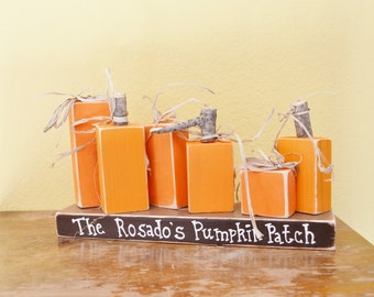 Custom Wooden Pumpkin Patch Family of 6 Personalized Blocks