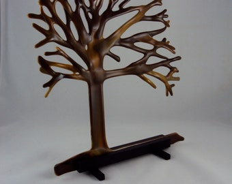 brown glass tree scuplture