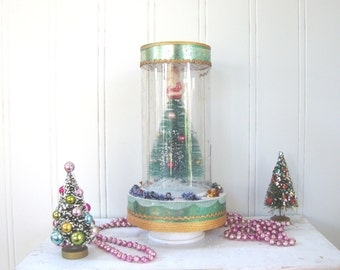 BOTTLE  BRUSH TREE - In Plastic Case - Decorated Stand - Vintage - Made in Japan - Christmas -