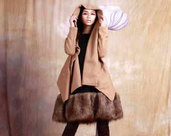winter bat wool jacket  puff sleeve coat beige coat wool jacket autumn coat autumn jacket mini jacket
