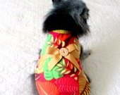 Fleece Small Dog's Coat, Custom Order, with Vivid Multicolored Tropical Leaf Print w/Bow and Button Trim Pomeranian