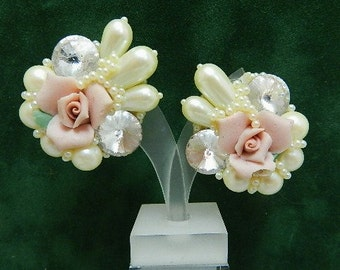 Handmade Pink Rose, Pearl and Crystal clip Costume Earrings - Perfect Wedding Engagement Spring Time Earring