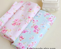 Aqua Blue Fabric Pink Flower Fabric, Shabby Chic Flower Fabric, Aqua Polka Dots Cotton,  Pink Floral Cotton Fabric- 1/2 Yard