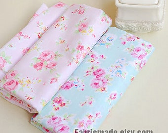 Sale- Aqua Blue Fabric Pink Flower Fabric, Shabby Chic Flower Fabric, Aqua Polka Dots Cotton,  Pink Floral Cotton Fabric- 1/2 Yard