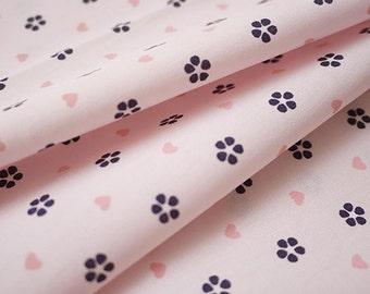 Light Pink Cotton Fabric With Little Love Heart Sakura Flower Petal - A Half Yard