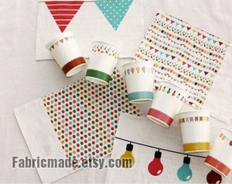"""6 Cuts- A Small Party Linen, Off White Cotton Linen With Bunting Banner, Flags, Pennants Balloon- 35""""X57"""""""